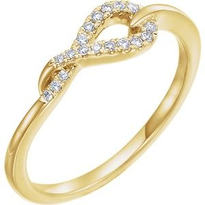 14K Yellow 1/10 CTW Diamond Knot Ring